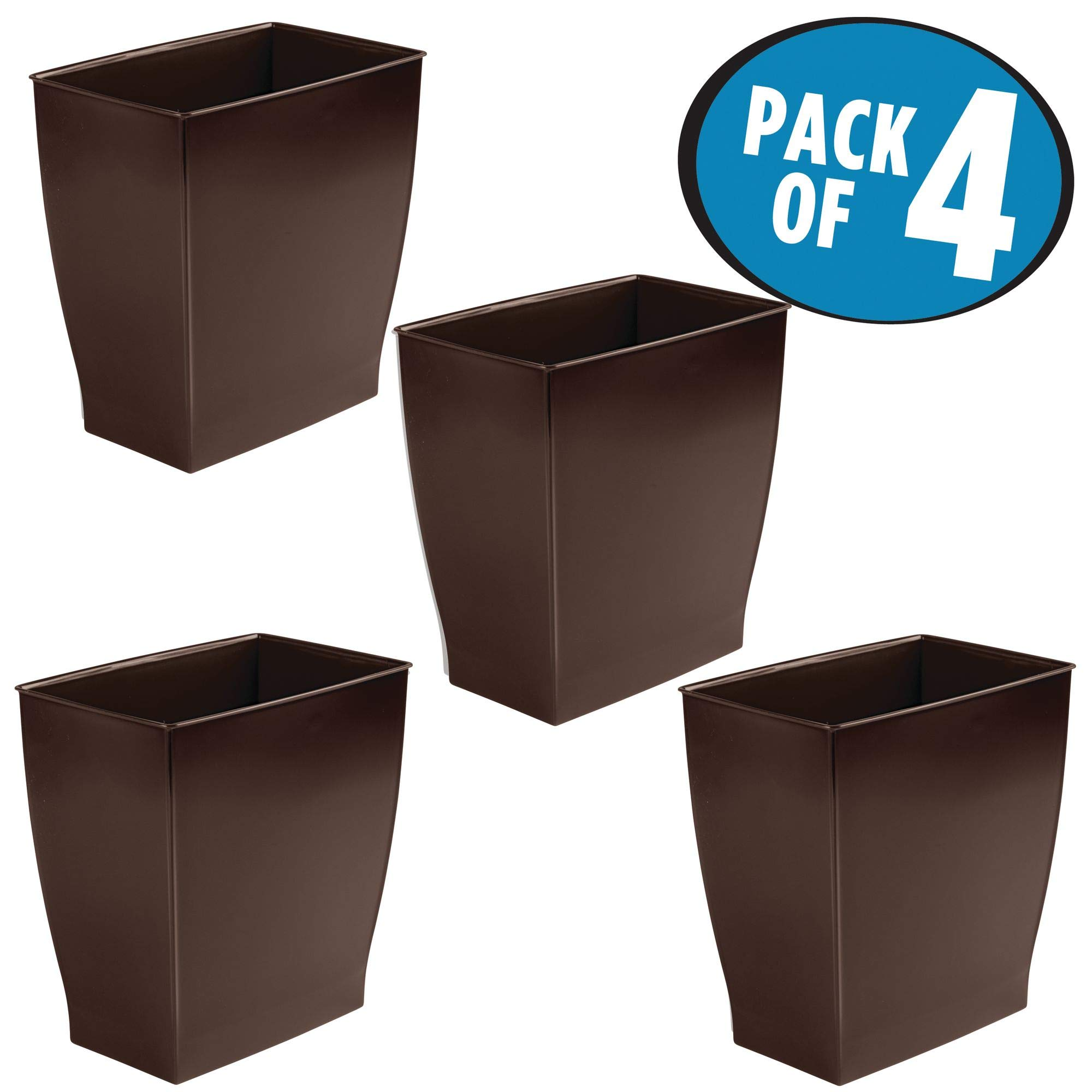 mDesign Rectangular Trash Can Wastebasket, Small Garbage Container Bin for Bathrooms, Powder Rooms, Kitchens, Home Offices - Pack of 4, Shatter-Resistant Plastic, Dark Brown