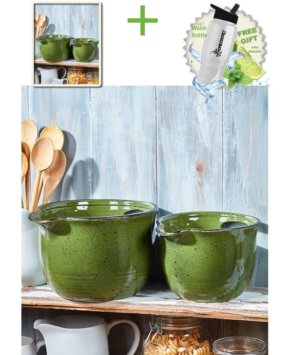 Gift Included- Country Farmhouse Kitchen Oversized Mixing Bowls Set of 2 Green + FREE Bonus Water Bottle by Home Cricket Homecricket by HomeCricket (Image #2)