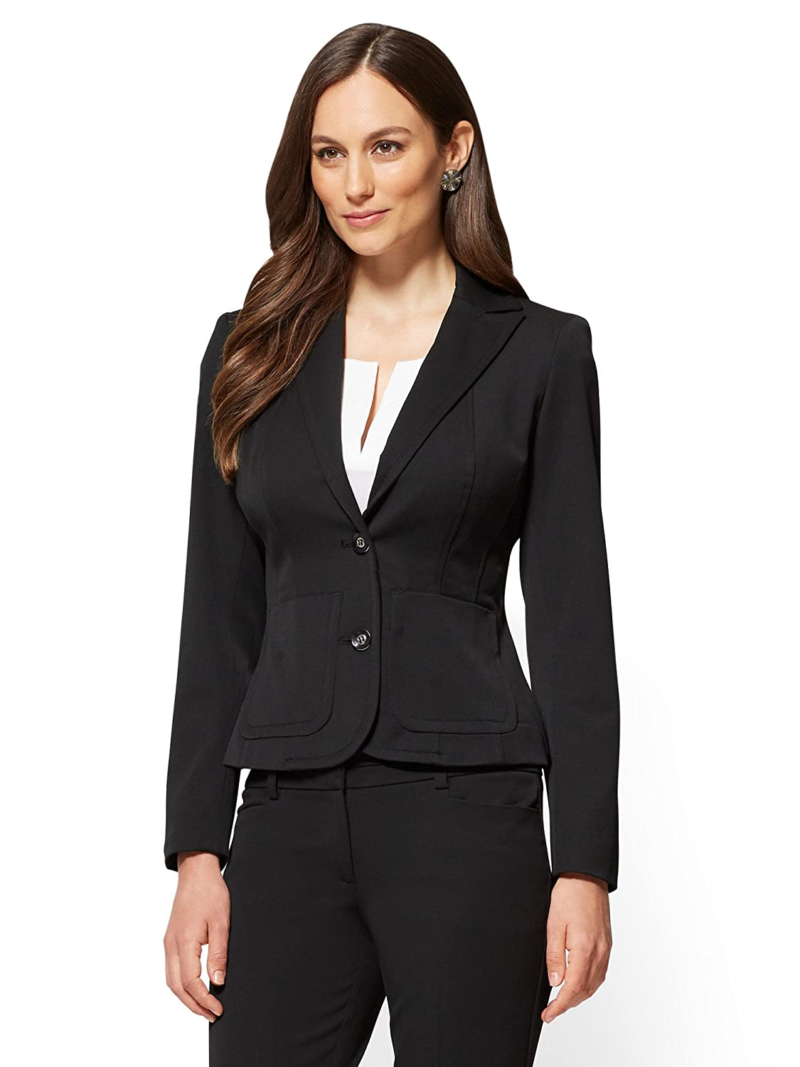 New York & CO. Women's 7Th Avenue Tall Jacket - Topstitched Two-Button 2 Black