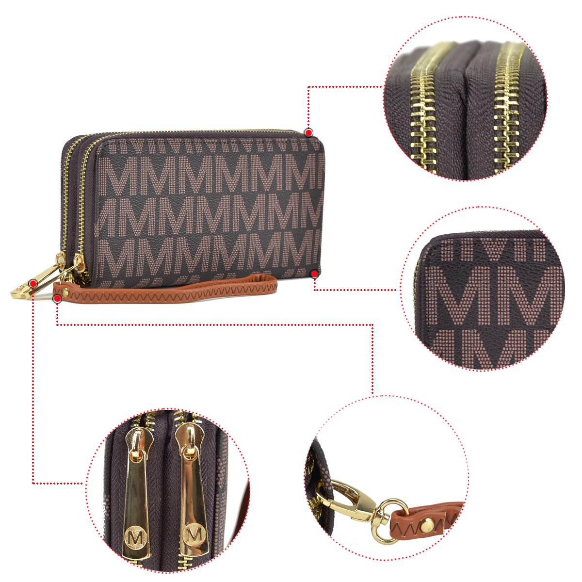 MMK Collection PU Leather Newest All Season Classic Unisex Double Zipper Closure Roomy Fashion Wallet with Wristlet (MLW-MM5770-BG) by Marco M. Kerry (Image #3)