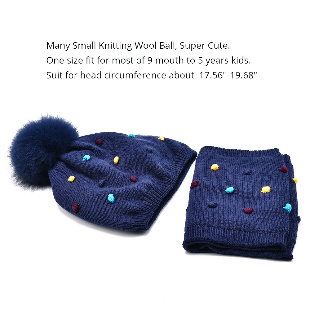 SOMALER Toddler Hat and Scarf Set Unisex Childrens Winter Beanie for Kids Cute Wool Hat