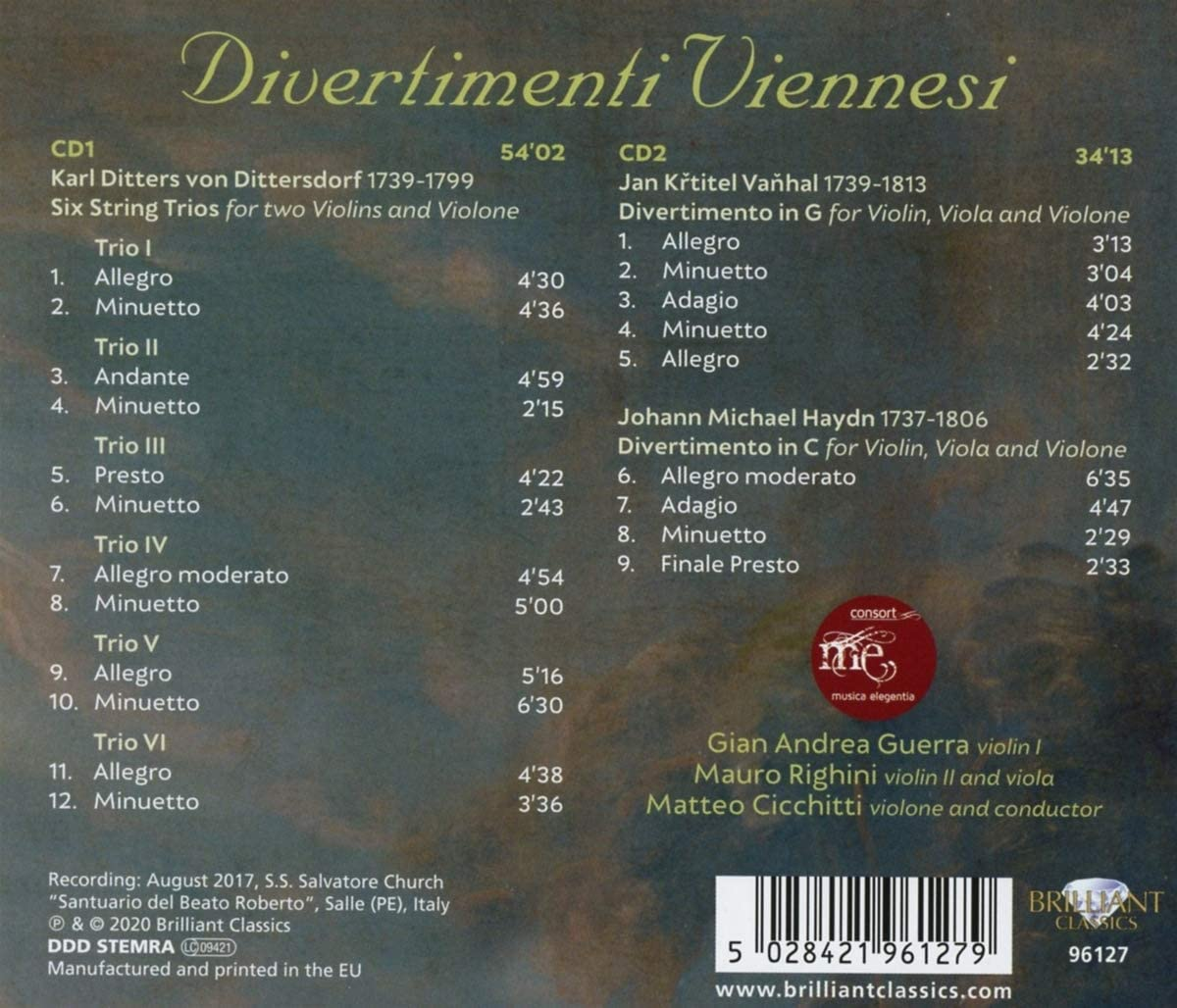Divertimenti Viennesi: Dittersdorf/ Musica Elegentia/ Cicchitti ...