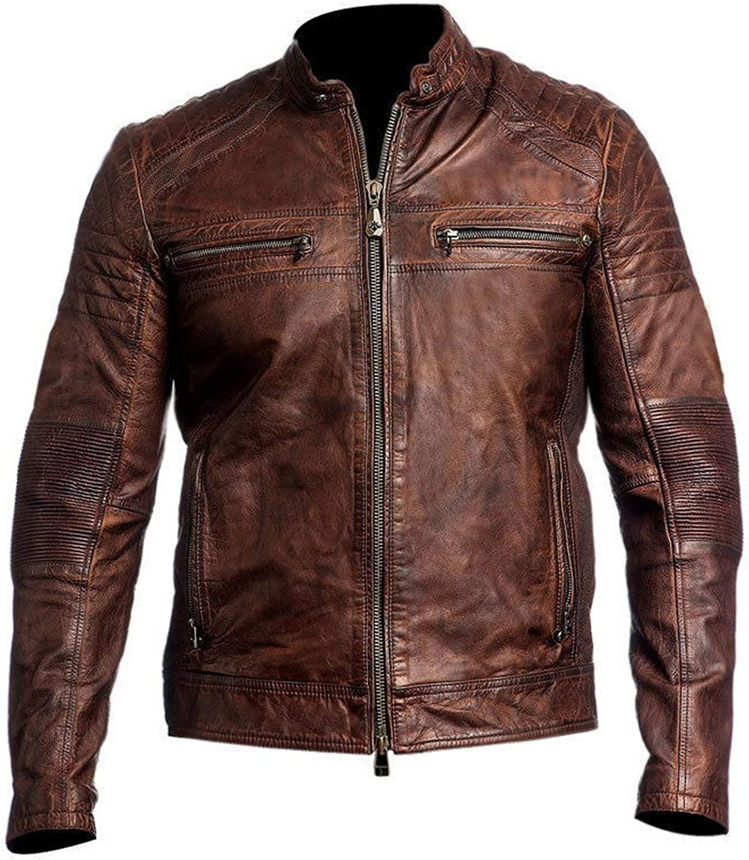 Mens Cafe Racer Jackets Cafe Racer Lambskin Jacket Moto Jackets Biker Leather Jacket