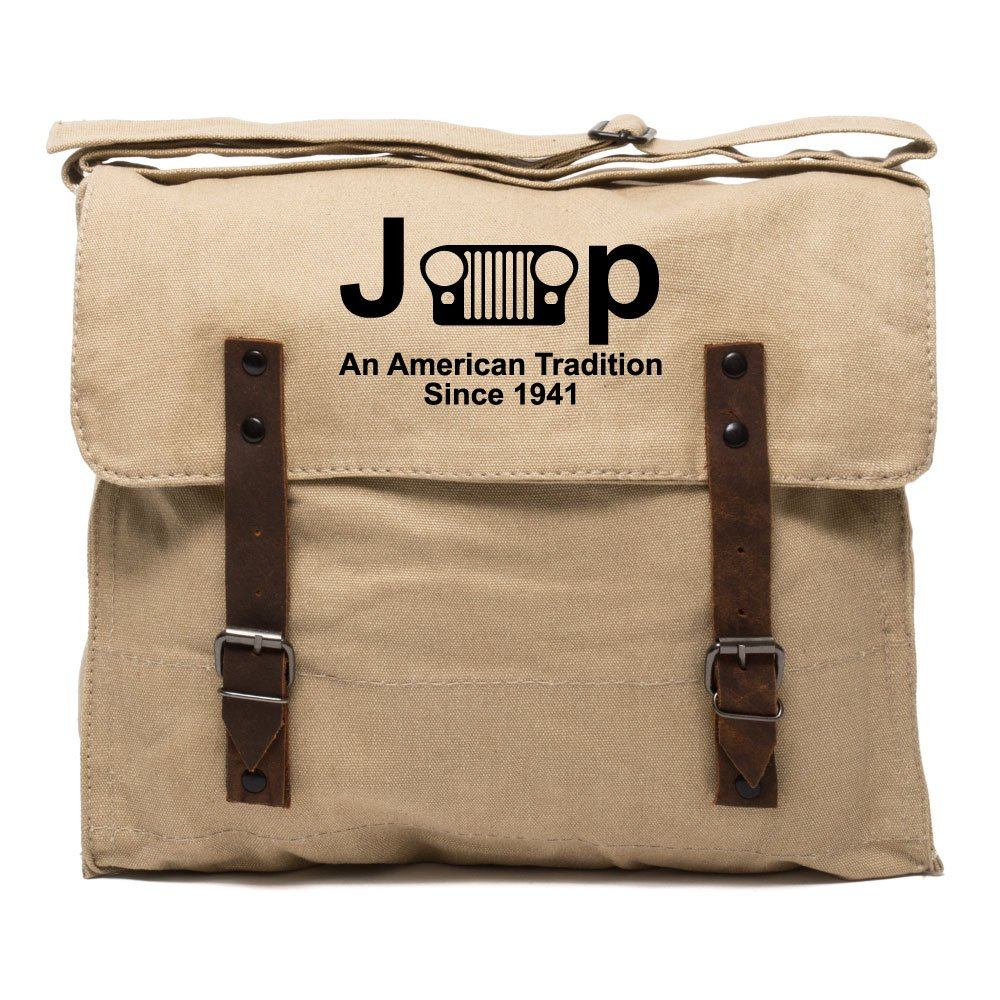 Jeep An American Tradition Army Canvas Medic Shoulder Bag Khaki & Black