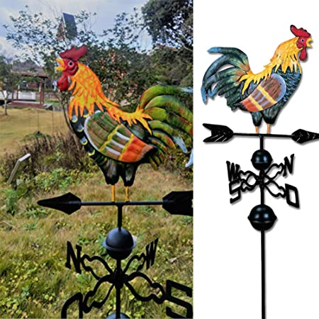 Veleta de gallo colorido, veleta de hierro tradicional veleta de metal veleta de metal con adorno de gallo decoración de jardín: Amazon.es: Bricolaje y herramientas