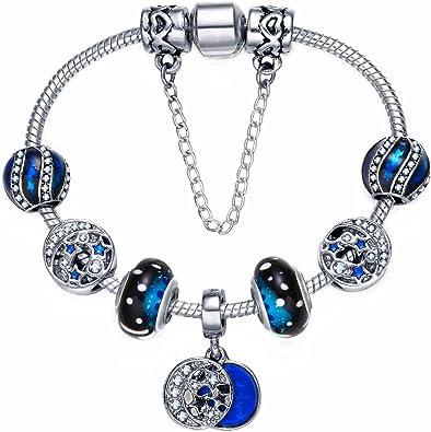 Mode Femme Bijoux Plaqué Argent Bracelet Breloque 6 Pendentif Bracelet chaîne poignet