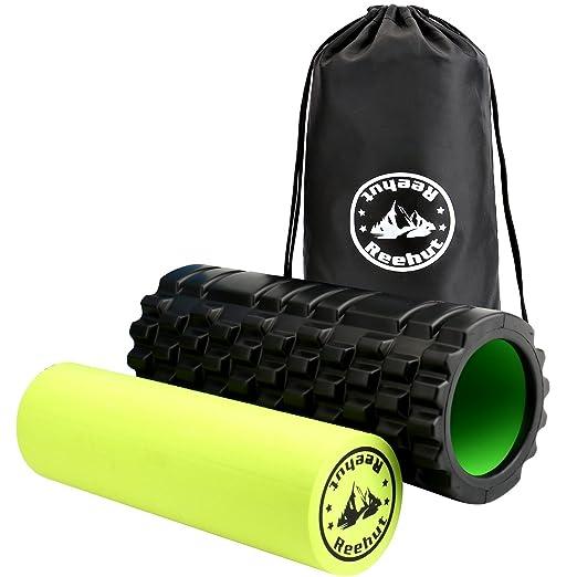REEHUT Fitness Rodillo de Espuma 2-en-1 para Puntos Desencadenantes y Masaje para Músculos Dolorosos, Músculos Tensos + Rodillos Lisos