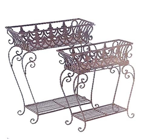 Amazon Com Set Of 2 Victorian Plant Stands Wrought Iron Antiqued