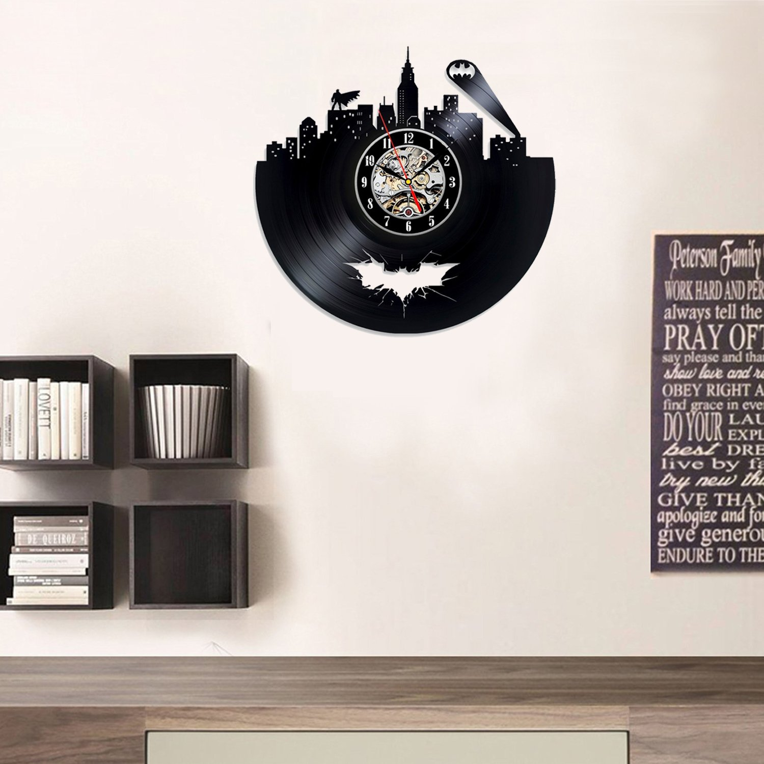 Batman Super Hero Dc Comics Night Marvel Black Decor Wall Clock Home Decor Gift