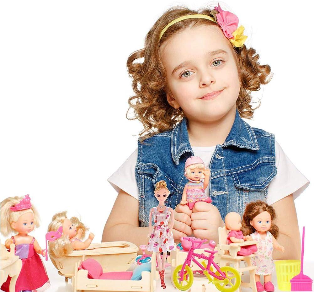 WENTS Accesorios para Ropa de mu/ñecas 138 Piezas Accesorios para Mu/ñecas Dolls Ropa y Zapatos para Dolls Mini Vestidos de Moda para Dolls Perchas y Accesorios de Cocina Regalo de Cumplea/ños Ni/ñas