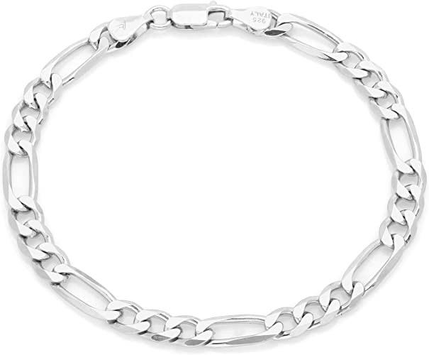 """5.5mm 4.5mm 20/"""",22/"""",24/"""",30/"""" Stainless Steel Figaro Chain Necklace 6mm or 7mm"""