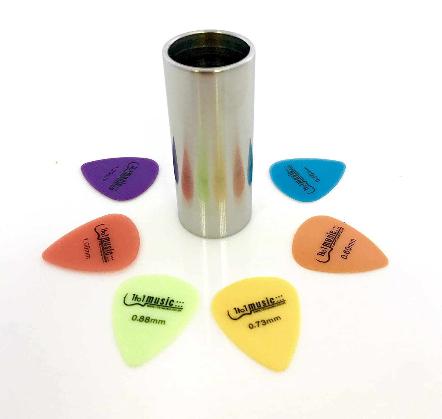 Groove Stainless Steel Cylinder Tube Guitar Slide Slider - 60mm + 6 FREE Plectrums 1to1Music