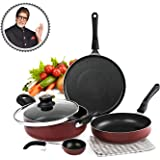 Cello Prima + Induction Base Non-Stick Aluminium Cookware Set, 4-Pieces, Cherry