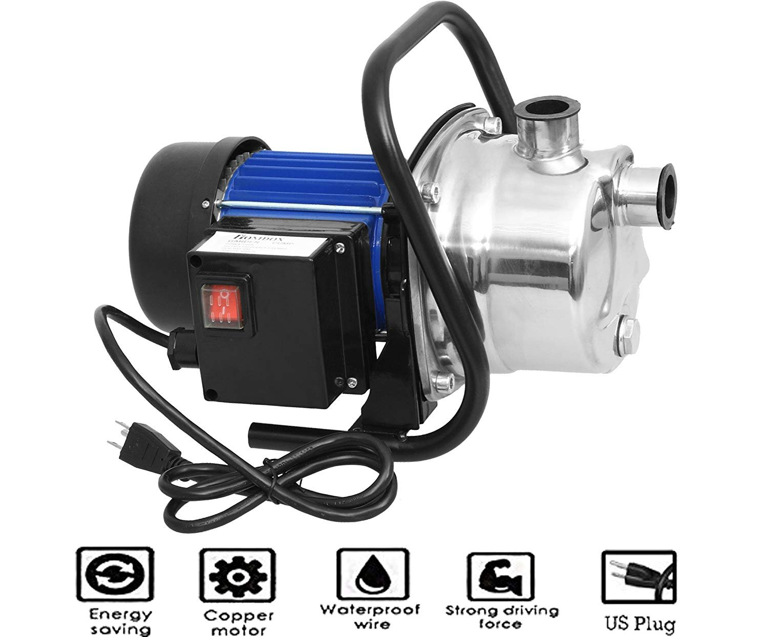 Meditool 1.6HP Shallow Well Pump Stainless Booster Pump Lawn Water Pump Electric Water Transfer Home Garden Irrigation 115V (1.6HP) by Meditool