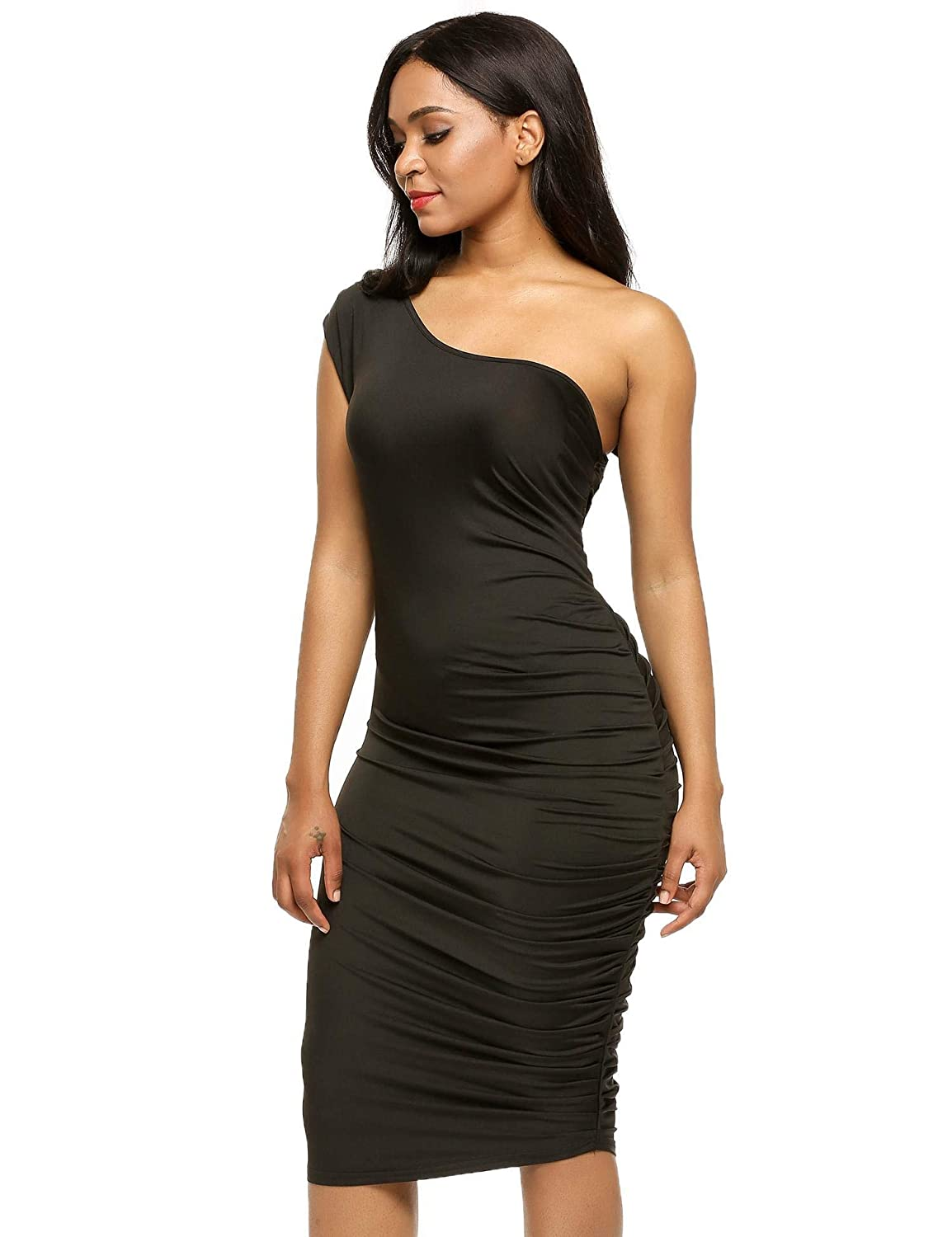 dc139d44783 Zeagoo Women's Sleeveless Ruched One Shoulder Sex Bodycon Cocktail Party  Dress at Amazon Women's Clothing store: