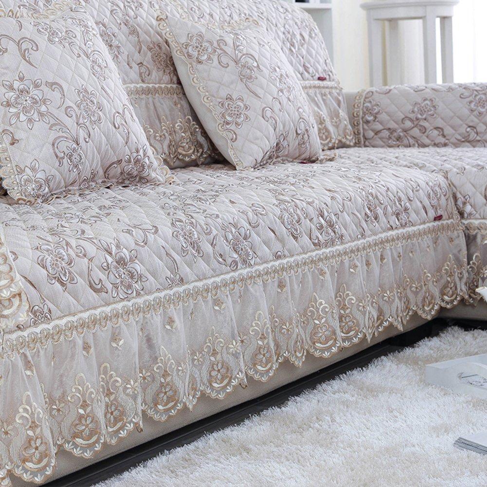 JINGJIE Non-slip fabric sofa cushion Linen lace cushion European style seasons of solid wood sofa towel-C 98x270cm(39x106inch) by JINGJIE (Image #2)