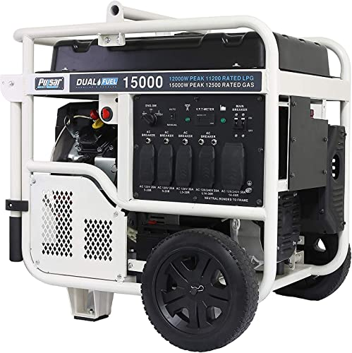 Pulsar PG15KVTWB Heavy Duty Portable Dual Fuel Generator-12000 Rated 15000 Peak Watts-Gas LPG-Electric Start-RV Ready-CARB Compliant