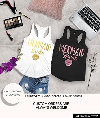 70ec0364b1d8 Amazon.com: Bachelorette party shirt,bridesmaid shirt,Bachelorette shirts,Mermaid  Bride, Mermaid Squad Fitted Tank Top,Mermaid Bachelorette d160: Handmade