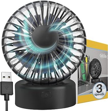 Ventilador USB - Ventilador para el Escritorio USB Mini Tamaño, 3 Velocidades, Rotación Ajustable: Ventilador Personal USB Twitifsh para Hogar y la Oficina: Amazon.es: Electrónica