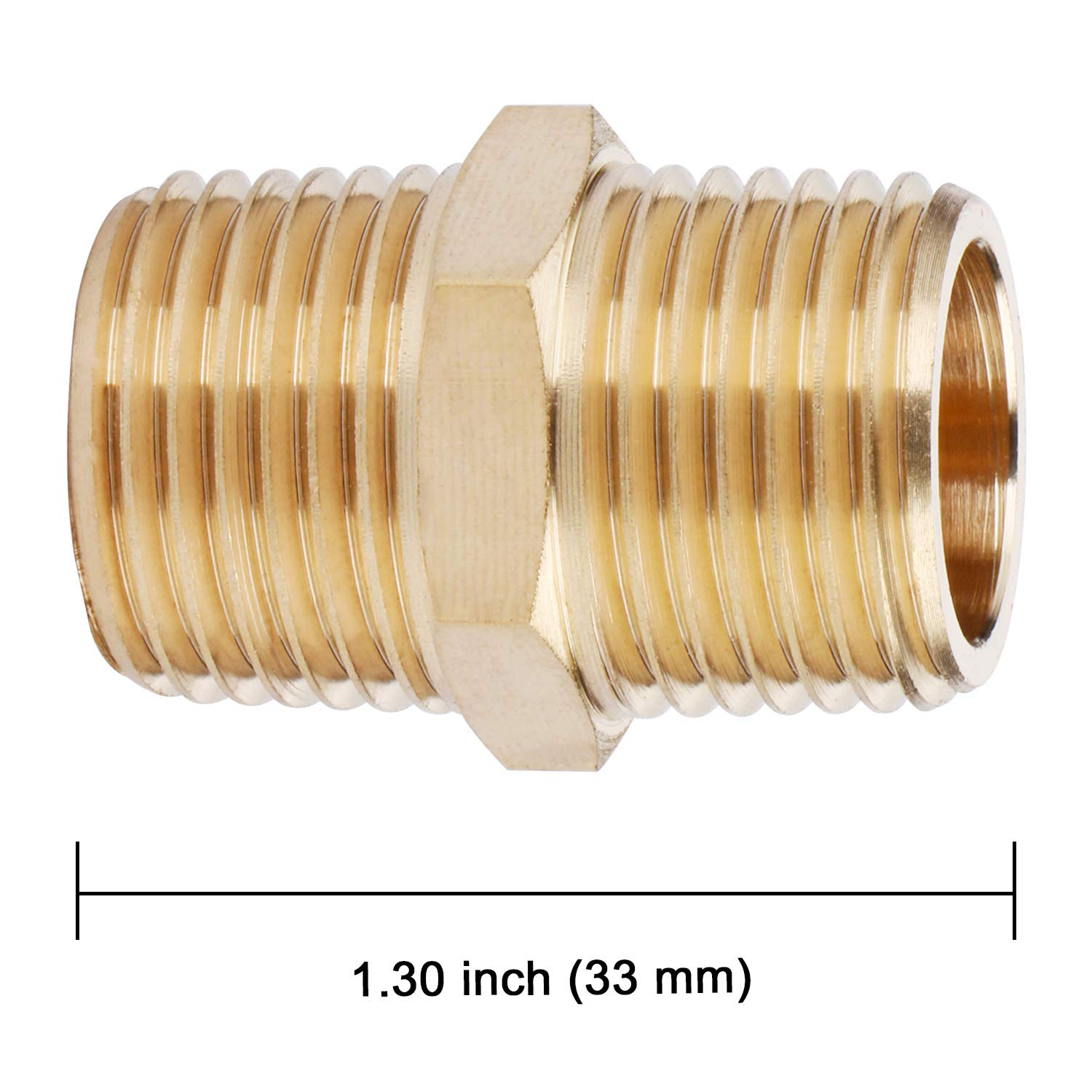 3//4 x 3//4 NPT Male Pipe Adapter U.S Hex Nipple Solid Brass Pipe Fitting