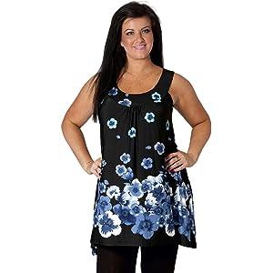 New Womens Top Floral Print Plus Size Ladies Tunic Polka Dot A Line Nouvelle