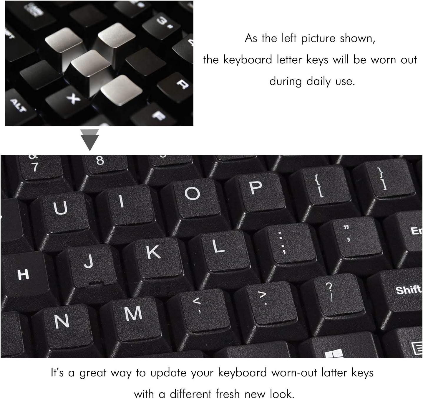 [2 unidades] Pegatinas para teclado, calcomanía de repuesto para teclado fondo negro con letras naranjas para teclado de ordenador 2p[English]
