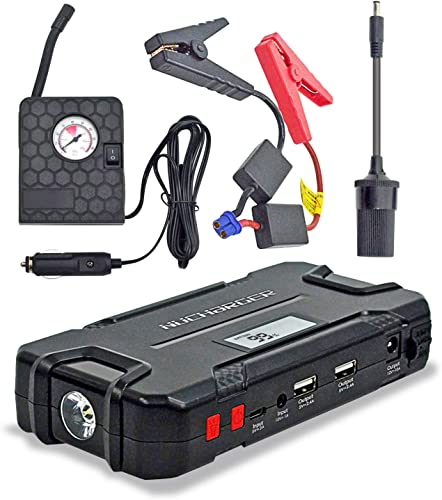12V Jump Starter with Portable Air Compressor-Nucharger PJ16 600A Peak Auto Battery Booster Earthquake Emergency Tool 12000mAh Multi-functional Power Pack w. Cigarette Lighter Adapter 2019 Upgraded