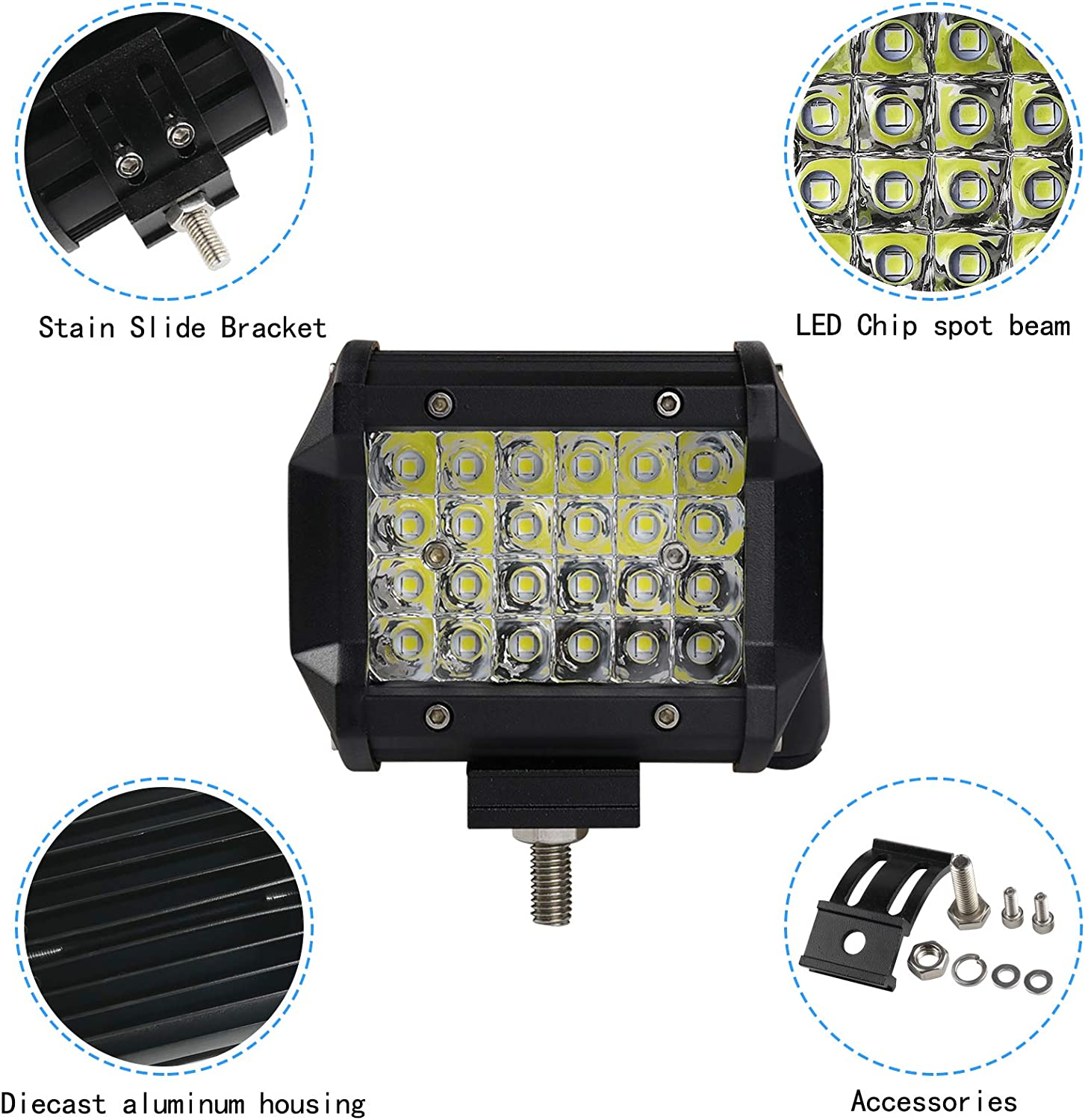 3 Years Warranty Woku Led pods flood Light Bar 2PCS 4 inch 120W Triple Rows Driving Fog Off Road Lights Spot Flood Combo Beam Waterproof Led Cubes Light for UTV SUV JEEP Truck and Boat