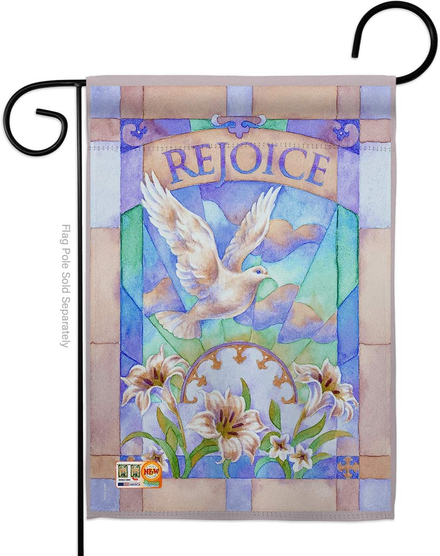 Breeze Decor Rejoice Garden Flag Spring Easter Happy Bunny Egg Christian Season Springtime Holiday House Decoration Banner Small Yard Gift Double-Sided, Made in USA