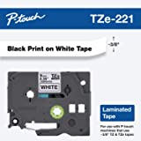 """Brother Genuine P-touch TZE-221 Tape, 3/8"""" (0.35"""") Standard Laminated P-touch Tape, Black on White, Laminated for Indoor or Outdoor Use, Water Resistant, 26.2 Feet (8M), Single-Pack"""