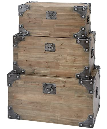 Awesome Decorative Rustic Wood Crate Storage Box Chest Trunk, Natural (Medium  29 Inch)
