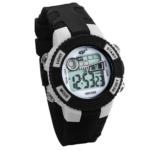 JewelryWe Relojes para Niños Niñas Reloj Deportivo Digital Para Aire Libre Reloj Infantil Negro, 3ATM A Prueba de Agua Dibujos Animados: Amazon.es: Relojes