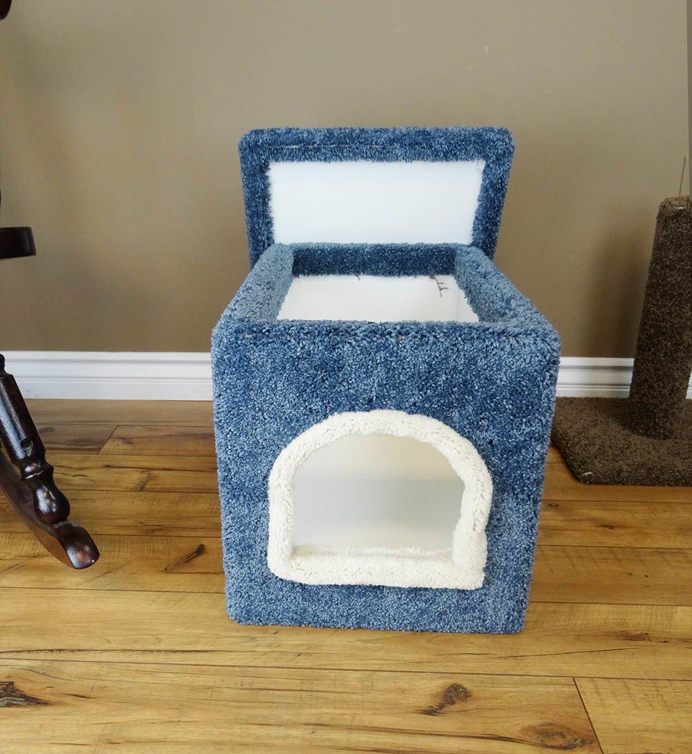 Wood Kitten Litter Box Furniture, Blue Carpet