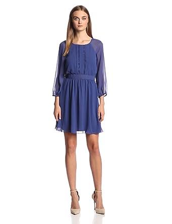 Jessica Simpson Women's Raglan Sleeve Pleated Lace Trim Dress, Blue Print, 2