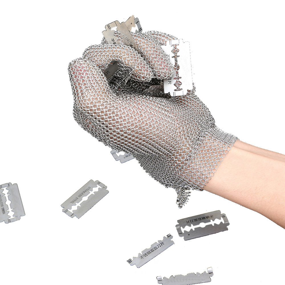 Anself Stainless Steel Mesh Knife Cut Resistant Chain Mail Protective Glove for Kitchen Butcher Working Safety (M) by Anself (Image #3)