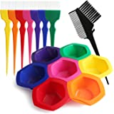 Hair Color Bowl and Brush Set, Hair Coloring Highlighting Tools on Hair Dye, Rainbow Hair Color Mixing Bowls Brushes…
