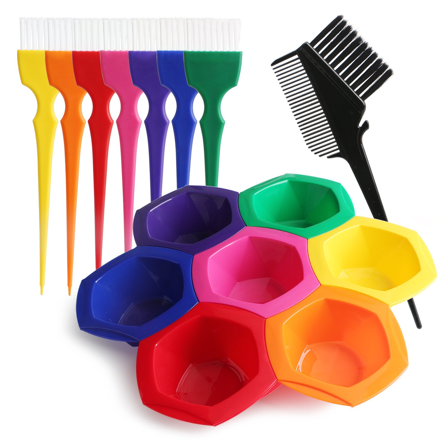 15pcs Hair Color Bowl and Brush Set, Segbeuaty Hair Coloring Highlighting Tools on Hair Dye, Rainbow Hair Color Mixing Bowls Brushes Comb for Dyed Hair, Omber Hair Dye or Art Paint Palatte by Segbeauty