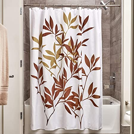 InterDesign Leaves Shower Curtain Polyester Bathroom With Leaf Motif Brown