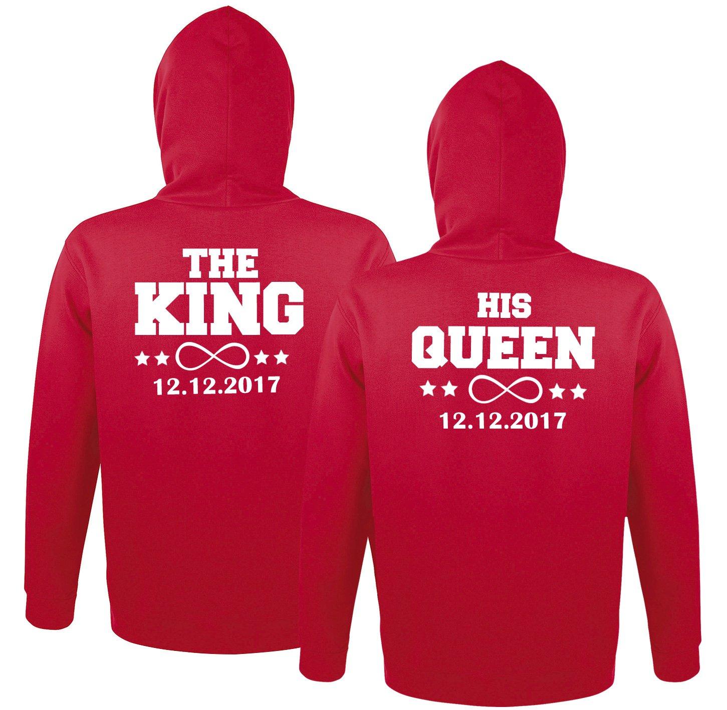 """SE-creation personalisierte Partner Pullover Set   """"The King"""" Hoodie mit """"His Queen"""" + Wunschdatum"""