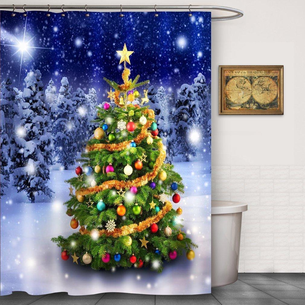 CHATAE Dusche CURATIN Weihnachten Dusche Vorhänge weiß Sonw Baum ...