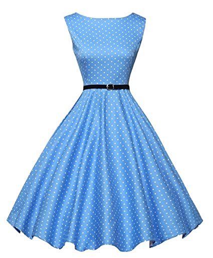 IHAIPI - Mujer Vestido años 50 Vintage de Lunares Falda Plisada de ...