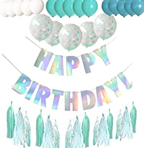 Turquoise Birthday Party Decorations for boys girls men women, Happy Birthday Banner with 15 Colorful Paper tassel and 20 Balloons,first 10th 16th 18th 21st 30th 40th 50th Birthday Party Supplies