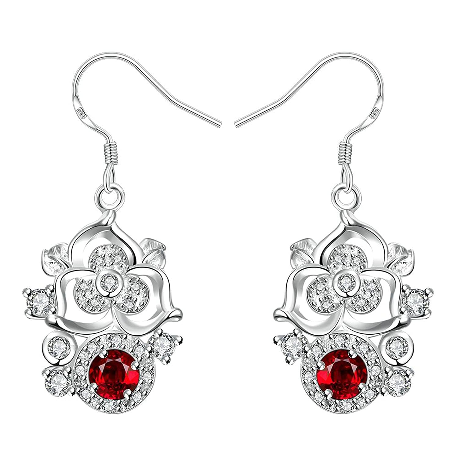 Gnzoe Fashion Jewelry 18K Silver Plated Drop Earrings Fishhook Flower Round Red Crystal Eco Friendly