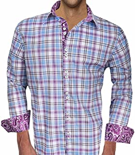 product image for Purple Plaid and Paisley Designer Dress Shirt - Made in USA