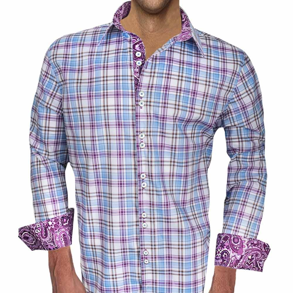 Purple Plaid And Paisley Designer Dress Shirt Made In Usa At