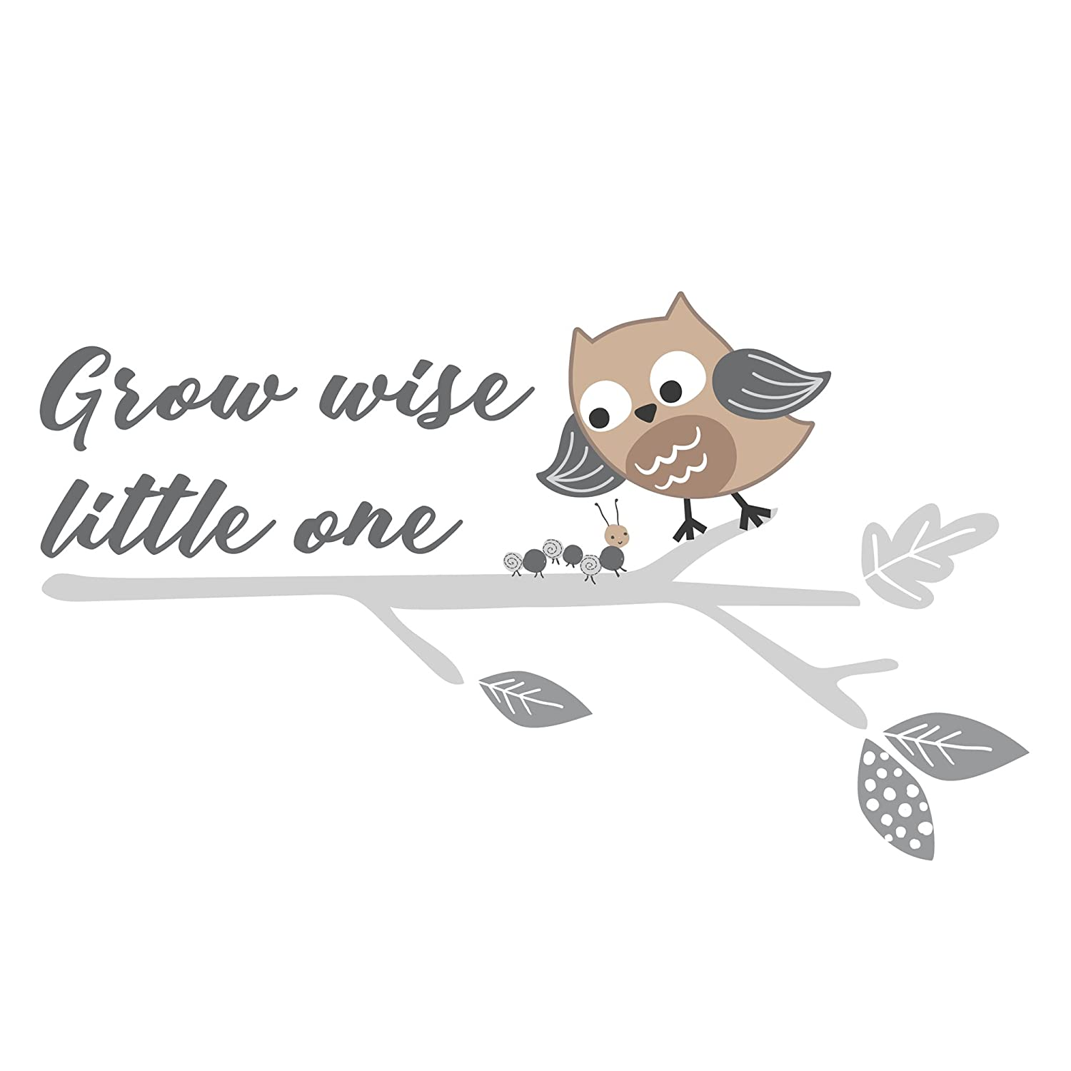 Bedtime Originals Little Rascals Grow Wise One Owl Wall Appliques, Gray/White Lambs & Ivy Bedtime 281048