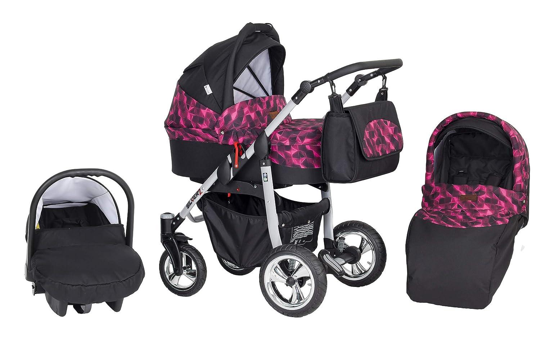 Cochecito Silver 3 piezas Negro Rombos rosa: Amazon.es: Bebé