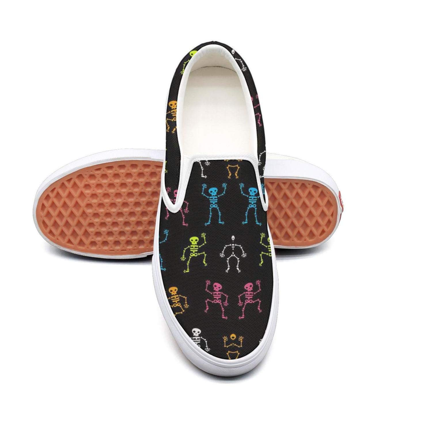 Back to School Music Skull Slip On Rubber Sole Loafers Canvas Shoes for Women Comfortable