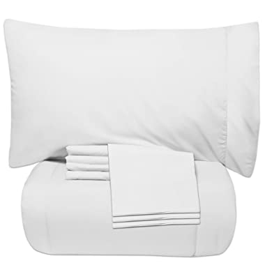 Sweet Home Collection 7 Piece Bed-In-A-Bag Solid Color Comforter & Sheet Set, Full, White,