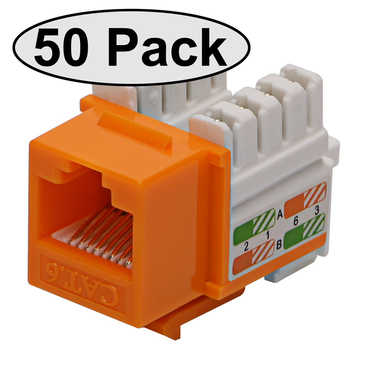 Cat6 Rj45 Modular Keystone Jack 110 Style Orange Box Wiring Diagram Of 50 Computers Accessories